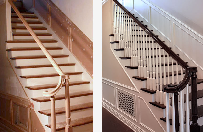Painting Staining Stairs - Before & After